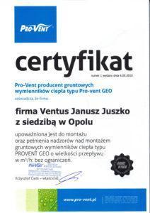 certyfikat Pro-Vent, bez ograniczeń